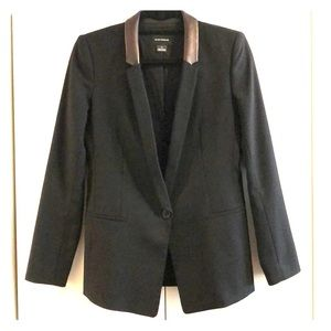 Club Monaco black jacket leather lapel, size 2